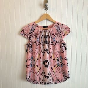 J.Crew Pink Cap Sleeve Marble Top Womens Size 2